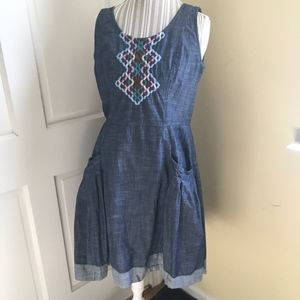 eShakti Chambray Dress with Embroidery 12